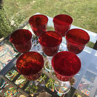 Set Of 6Ruby Red Hand Blown Crystal Glass Goblet Clear Stem 7 3 4 Wine Water