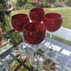 Deep Ruby Red Wine Glasses Water Goblets 8 Stemware Set of 4
