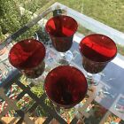Red Ruby Blown Glass Water Goblets w Clear Stem Set of 4