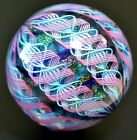 JAMES ALLOWAY GLASS MARBLE 2549 DICHROIC 7 CANE LARGE  2346 PINKLIMETURQ+