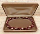 Vintage 925 Sterling Silver Red  Pink Freshwater Pearl Collar Necklace with Box