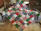 MERRY GRINCH CHRISTMAS Rag Quilt Throw COTTON W Flannel Backing 60 X 66