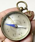 Antique French Compass with Anchor charm Brass Pendant fob Beveled Glass