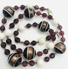Gorgeous Murano Venetian Glass Beaded Necklace Sommerso Amethyst Vintage Jewelry