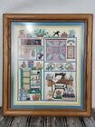 Completed Cross Stitch Top Quality Framed Matted Sewing Room Treasures 16x14