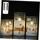 White Christmas Glass Flickering Flameless Candles Battery Glass snowman