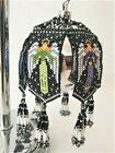 Native American Handmade Beaded Ornament Cover Black and White Angels