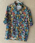 Disney Parks World Attraction Ride Logo Patch Badge All Over Camp Shirt Epcot