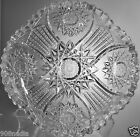 VINTAGE CUT GLASS OR CRYSTAL SHALLOW BOWL STAR OR SNOWFLAKE SCALLOPED EDGES
