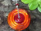 CHELSEA STONE EYE CANDY GLASS STERLING ORANCE RED GUMDROP NECKLACE ARTIST MADE