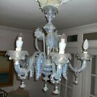 Murano Glass CHANDELIER Andromeda Signed Opaline Glass 5 Arms