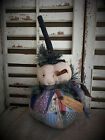 FoLk Art PrimiTive ChrisTmas SNOWMAN old grungy quilt wool DOLL decOraTion Tag