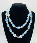 Beautiful Long Opalescent Glass Beaded Necklace Chunky Vintage Jewelry