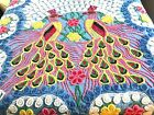 Double Peacock Chenille Bedspread with Hearts Vintage 96 x 84 Terrific