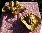VINTAGE PAPER MACHE GOLD ANGELS WALL HANGINGS SET of 2 CHRISTMAS NATIVITY 12