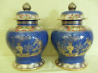 Pair Copeland Spode Urns & Lids c1895- Blue & Gold- Special SALE! 30% OFF!
