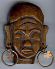 LARGE VINTAGE FOLK ART CARVED WOOD NATIVE HEAD WITH LUCKY CLOVER EARRINGS PIN