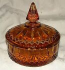 1970-90 INDIANA Amber Princess Pattern Candy Box w/Lid MINT Condition