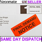 Bright Red Fluorescent Luminous FINAL DEMAND NOTICE Postage Labels Stickers
