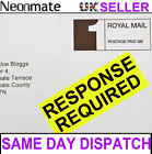 Bright Yellow Fluorescent Luminous RESPONSE REQUIRED Postage Labels Stickers