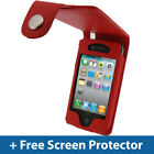 RED Leather Case for Apple iPhone 4 HD  iPhone 4S 16GB 32GB 64GB Cover Bumper