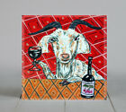 Goat art goat gifts goat prints goat tile tile  coaster gift wine
