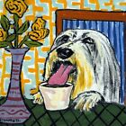 bearded collie at the coffee shop gift animal ceramic dog art tile coaster