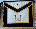 HAND EMBROIDED MASONIC CUSTOM PAST MASTER APRON DAX-12 SILVER