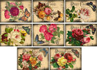 Vintage inspired roses postcard butterfly note cards tags ATC altered art set 8