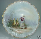 ANTIQUE LIMOGES CABINET PLATE,CHARGER HAND PAINTED VICTORIAN WOMAN AMAZING