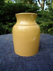Small Yellow Ware Canning Jar with Original Lid with Mustard Coloration