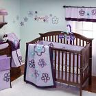 8pc Light Purple Blue & Dark Purple Floral Nursery Crib Bedding Set - Baby Girls