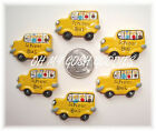 6PC BACK TO SCHOOL BUS RESINS FLAT BACK FLATBACK 4 HAIRBOW BOW CENTER