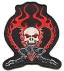 Love HATE Love biker heart skull EMBROIDERED IRON ON PATCH y ph503 FREE SHIPPING