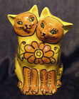 Italian Ceramic Cats Figurine - Mid Century Flowers majolica Green Orange Yellow