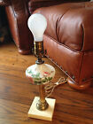 VINTAGE HAND PAINTED GLASS TABLE LAMP w MARBLE BASE - Roses