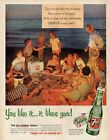 1954 Seven 7 Up Vintage Bottle Cooler Family Beach Party PRINT AD