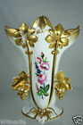 VINTAGE PORCELAIN OLD PARIS STYLE VASE HEAVY GOLD LEAVES FLOWERS HAND PAINTED