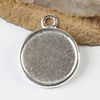 10pcs silver tone round picture frame charm h3509