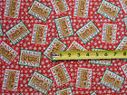Santas Chocolate Shoppe Signs on Red w Snowflakes BY YARD Studio E Cotton Fabric