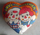 BIG Vintage 1970 Raggedy Ann and Andy Heart Shaped Pillow
