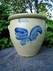 Evan Jones, Pittston, Stoneware 1 Gallon Cream Pot Crock with Cobalt Tulip