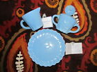 NEW April Cornell Silvestri Blue Bird Set 4 Dessert Plates Creamer Sugar HTF
