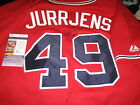 JAIR JURRJENS ATLANTA BRAVES LEGEND SIGNED AUTOGRAPH MLB MAJESTIC RED JERSEY JSA