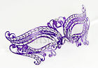 Laser Cut Venetian Mask Masquerade Purple Costume Ball Crystal Butterfly Prom