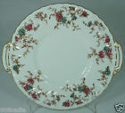 MINTON ANCESTRAL ENGLAND S376 FLORAL GOLD RIMS ROUND CAKE PLATE HANDLED