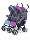 NEUF NEW NUE ALU POUSSETTE DOUBLE dubbele buggy Duo Comfort ROSE-BLUE
