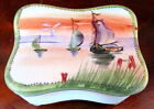 NIPPON FOOTED TRINKET BOX W/ SAIL BOATS & SUNSET BLUE MAPLE LEAF X-CONDITION