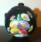 Vintage Cookie Jar Container  Cannister Floral Black Retro Hand Painted Decor