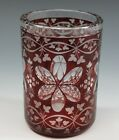 Bohemian Victorian Etched Ruby Flash Glass Round Vase Cup